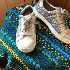 Sparkling bling sequin shoes casual silver